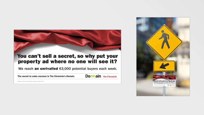 Domain 'Secret' campaign guerilla outdoor concept
