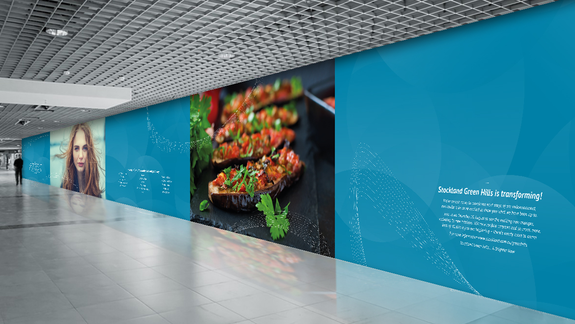 Shopping centre wall hoarding - wall graphics