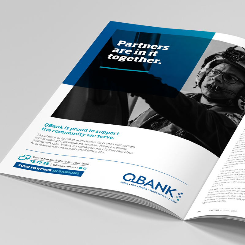 QBANK Press advertisement layout